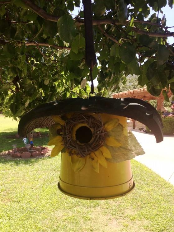 YOM yellow bird feeder